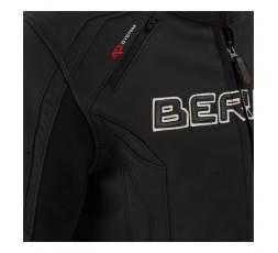 Chaqueta moto hombre cuero y stretch Borg de Bering detalle delantero