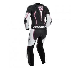Mono moto de cuero mujer Vortex Lady de Bering blanco, negro y fushia vista de espalda