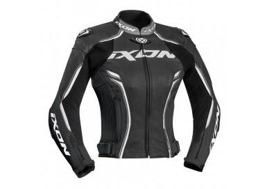 Chaqueta moto de cuero mujer VORTEX LADY JKT de Ixon gris vista de frente