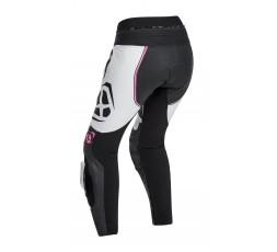 Pantalón moto de cuero mujer VORTEX LADY PT de Ixon fushia vista de espalda