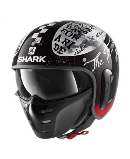 Jet motorcycle helmet with Shark S-DRAK mask