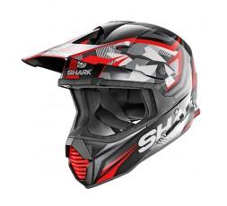Casco moto integral uso Off road Motocross Aventura Enduro VARIAL de SHARK rojo vista de lado