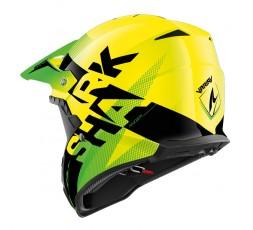 Casco moto integral uso Off road Motocross Aventura Enduro VARIAL de SHARK amarillo vista detrás