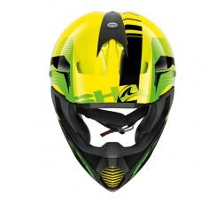 Casco moto integral uso Off road Motocross Aventura Enduro VARIAL de SHARK amarillo vista de frente