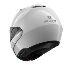 Casco moto modular EVO-ES de SHARK blanco integral vista detrás