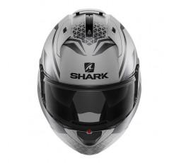 Casco moto modular EVO ES YARI de SHARK color gris integral vista de frente