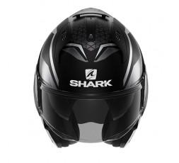 Casco moto modular EVO ES YARI de SHARK color negro jet vista de frente