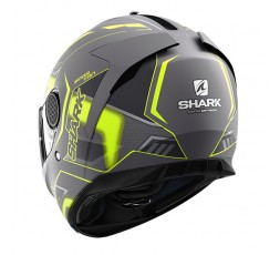 Casco moto integral SPARTAN modelo ANTHEON de SHARK color verde vista detrás