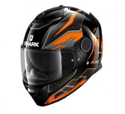 Casco moto integral SPARTAN modelo ANTHEON de SHARK color naranja vista de lado