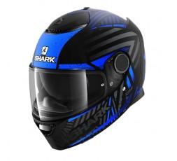 Casco moto integral SPARTAN modelo KOBRAK de SHARK color azul vista de lado