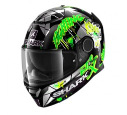 Casco moto integral SPARTAN replica LORENZO Catalunya de SHARK color verde vista de lado