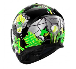 Casco moto integral SPARTAN replica LORENZO Catalunya de SHARK color verde vista detrás