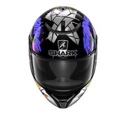 Casco moto integral SPARTAN replica LORENZO Catalunya de SHARK color violeta vista de frente