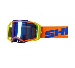 Gafas de protección para casco de moto LITE de Shot naranja - azul