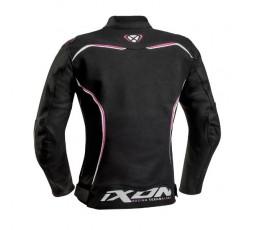 haqueta moto mujer en cuero TRINITY de IXON vista de espalda negro y fushia