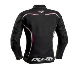 Women's motorcycle jacket in combined textile leather TRINITY by IXON black and pink 2