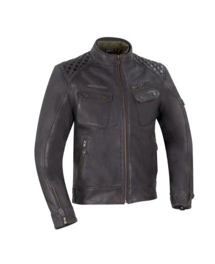 Blouson moto en cuir marron Barrington de Segura