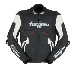 RAPTOR EVO leather motorcycle jacket by FURYGAN black, red and white 1