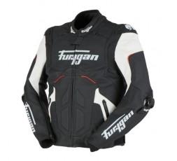Blouson de moto en cuir RAPTOR EVO de la marque FURYGAN blanc, rouge et noir 2