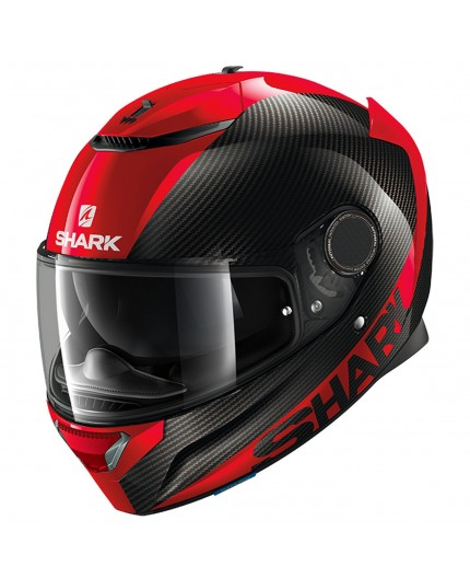 Casco integral SPARTAN CARBON SKIN de SHARK Negro/ Rojo