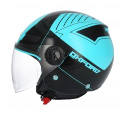 Casco Jet SH-62 Oxford de SHIRO Turquesa.