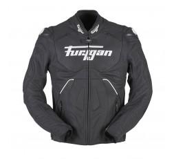Blouson de moto en cuir RAPTOR EVO de la marque FURYGAN blanc et noir 1
